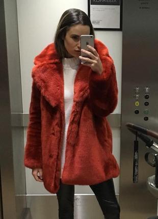 🔥скидка🔥шуба h&m красная искусственная шубка зимняя теплая эко-мех меховое пальто из меха