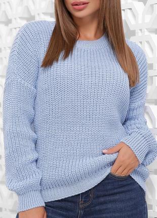 Удобный однотонный голубой вязаный свитер в стиле oversize/оверсайз (167 mrss)