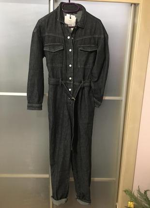 Новый джинсовый комбинезон темно серого цвета