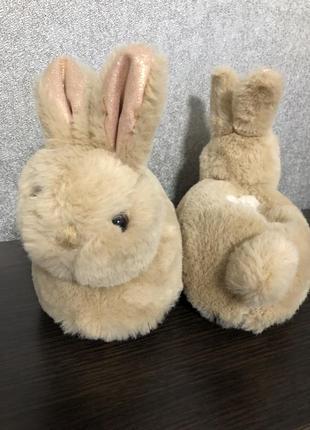 Объёмные меховой комнатные тапочки зайки зайчики кролики с ушками