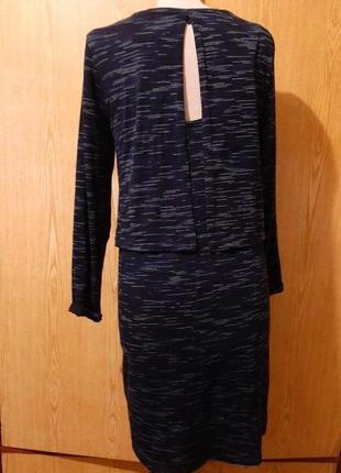 Платье вискозное синее в белую и чёрную полоску, l.