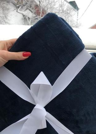 Флисовый плед 150 *200 см , глубокого синего цвета, приятнейший
