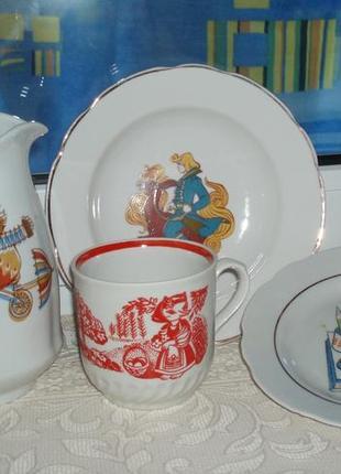 Винтаж детская посуда кувшин фарфор тарелка чашка деколь клеймо