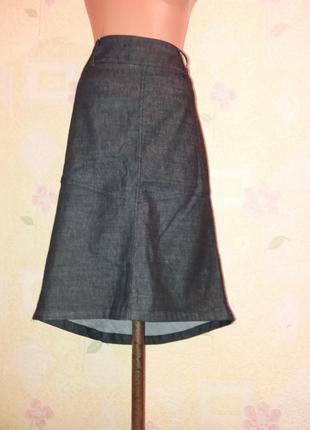 Модная джинсовая юбка миди  асимметричная