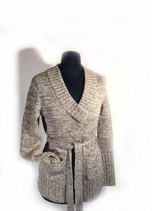 Теплый свитер-джемпер с карманами и поясом р м или 38-40 серо-коричневый