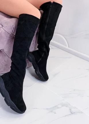 Сапоги ботфорты чёрного цвета,замшевые сапоги еврозима на платформе