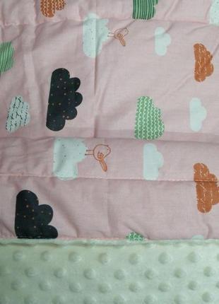 Двухсторонее плед одеялко конверт. плюшевое одеяло десткое котон и плюш. есть расцветки