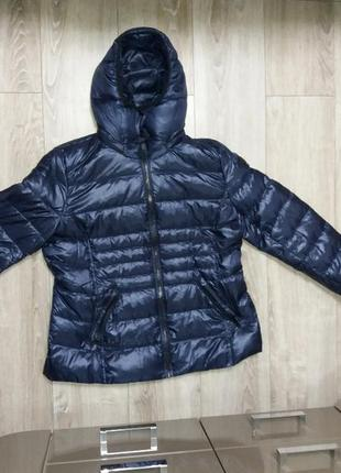Куртка на пуху andrew marc із сша xxl темно синя