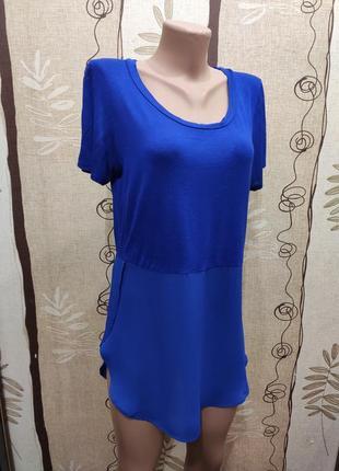 Синяя туника, удлинённая футболка, вискоза и шифон