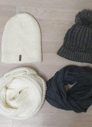 Шапка с балабоном шарф хомут комплект
