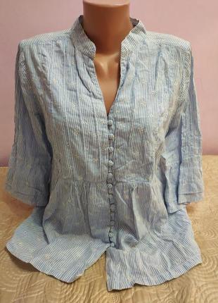 Красивая хлопковая блуза с вышивкой,р.40