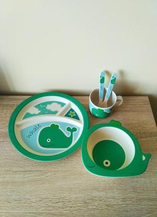 Набір дитячого посуду з бамбукового волокна бамбуковая посуда  бамбук