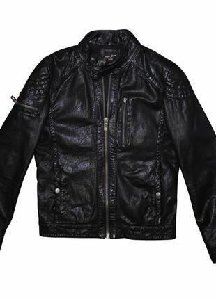 Мужская кожаная куртка черная стильная river island s m