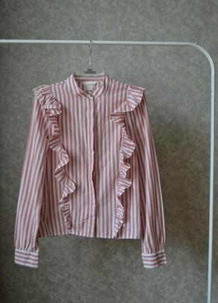Рубашка с рюшами в полоску