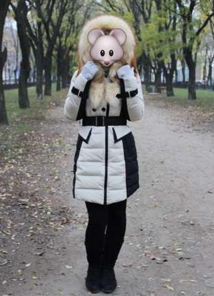 Зимний пуховик с мехом fine baby cat