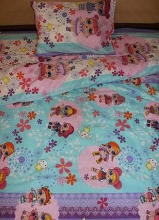 Комплект полуторного постельного белья lol dolls. ранфорс