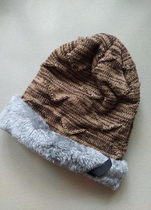 Зимняя тёплая шапка унисекс мужская женская пушистая шапка