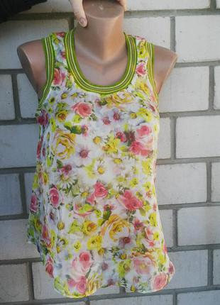 Легкая ,воздушная шелковая майка удлиненная по спинке (блузка)в цветочный принт,шелк 100 %,италия