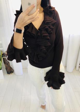 Кашемировый свитер с воланами шоколадного цвета