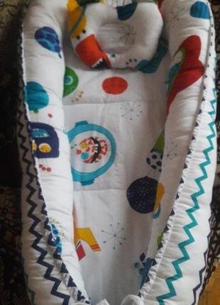 Кокон пеленатор  кокон гнёздышко для малышей от 0 до 6 месяцев с ортопедической подушкой