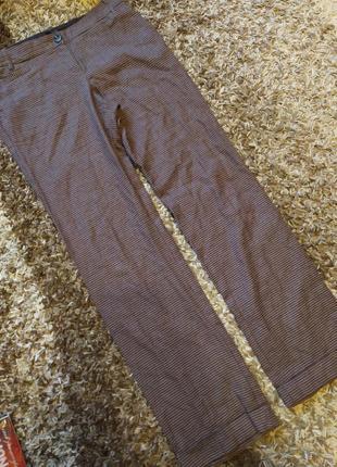 Осенние штаны гусиная лапка высокий рост 100%коттон манжет подкат плотные теплые