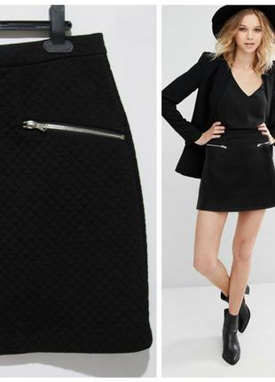 Короткая юбка-трапеция из фактурной ткани new look , uk 10