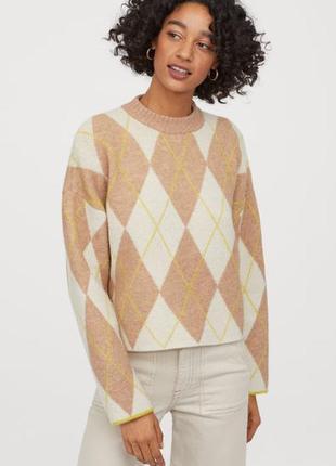 Тёплый джемпер/свитер в ромбы h&m,p.s-m
