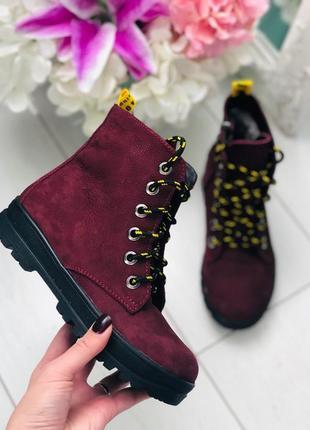 Зимние ботинки на шнурках. подростковые ботинки замша.
