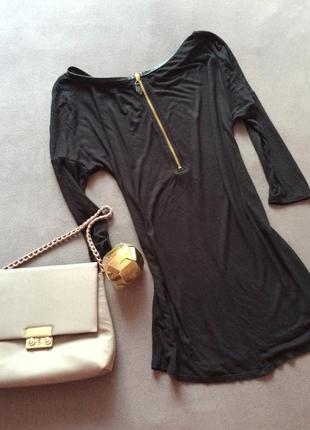 Черная туника , блуза zara c замочком сзади