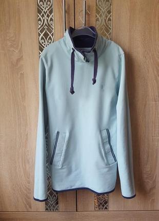 Оригинальный брендовый худи, голубой удлиненный худи, теплый худи,