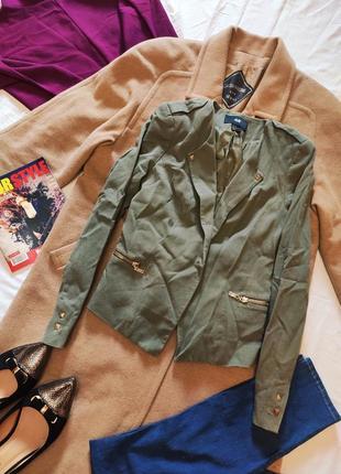 Пиджак жакет джинсовый цвета хаки h&m