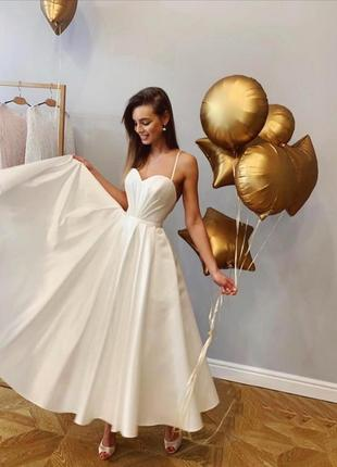 Шикарное вечернее свадебное платье миди белое айвори открытая спина атласное нарядное