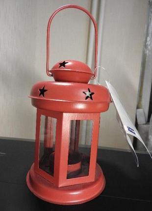 Фонарь подсвечник металлический , новогодний, красный, белый, серый5 фото