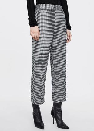 Стильные брюки от zara {гусиная лапка} прямые укорочённые