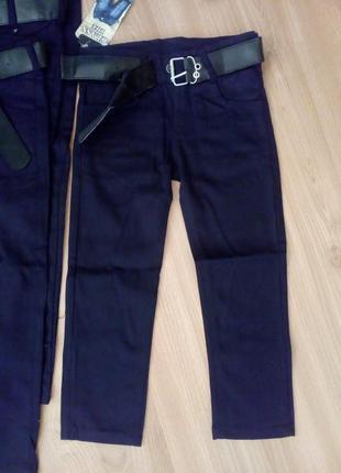 Черные школьные брюки на мальчика коттон (джинс)