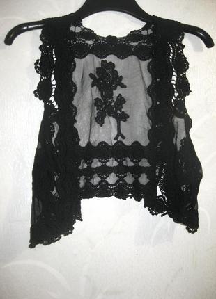 Жилетка накидка ажурная гипюр чёрная