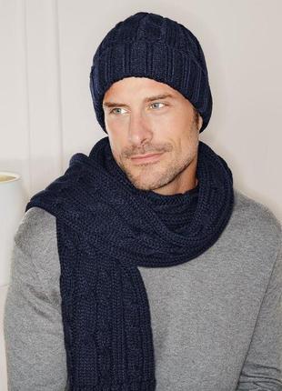 Длинный теплый мужской шарф tchibo германия размер 200 на 26