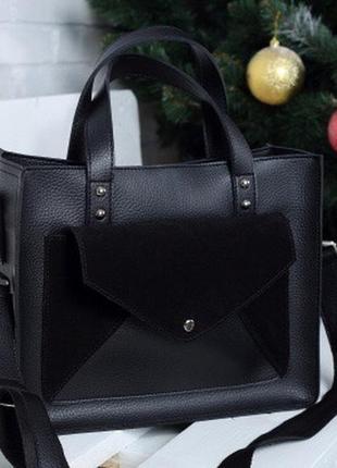 Чёрная с натур .замшей женская молодёжная деловая сумка с короткими ручками