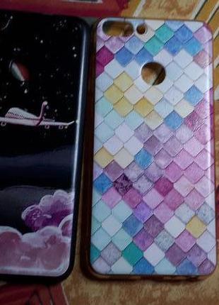 Комплект чехлов силиконовых, 2ед к мод телеф huawey p smart