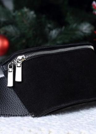 Чёрная замшевая женская молодёжная сумка на пояс клатч с натуральной замшей