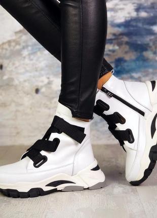 Рр 39 зима натуральная кожа по скидке стильные ботинки с трендовыми ремнями