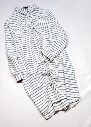 Базове плаття-сорочка міді в смужку, з кишенями