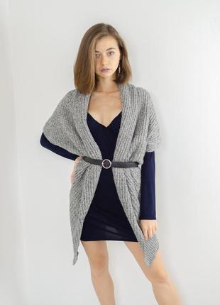 Zara серый шерстяной меланжевый кардиган, накидка с примесью шерсти без застежки, кофта
