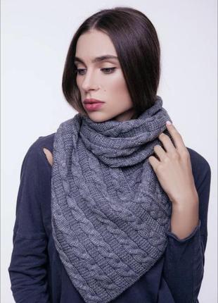 Снуд шарф вязаный трикотажный темно-синий