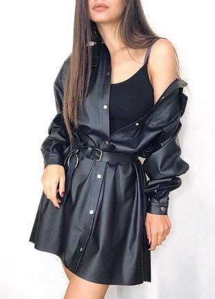 Кожаное платье-рубашка из эко-кожи