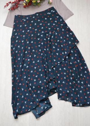 Очень красивая шифоновая юбка с рюшами в принт h&m