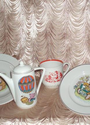 Винтаж детская посуда тарелка чайник/заварник чашка фарфор клеймо деколь