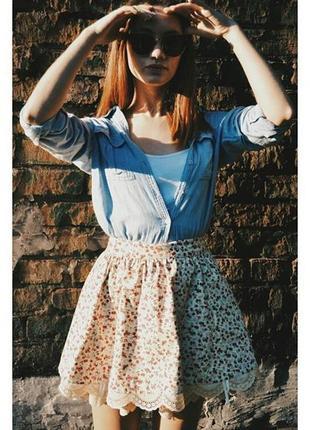 Мини юбка с принтом и итальянским кружевом | be baby