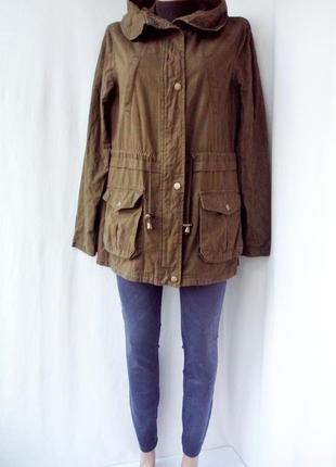 Стильная куртка, парка new look с капюшоном. размер uk14.