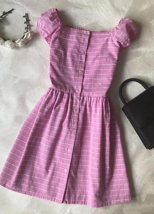 Розовое платье next хлопковое сукня открытые плечи
